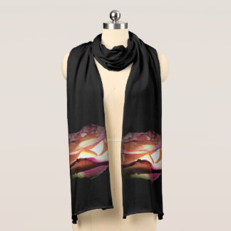 Two Tone Yellow Red Rose on Black Scarf