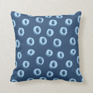 Two toned blue circles on dark blue background throw pillow