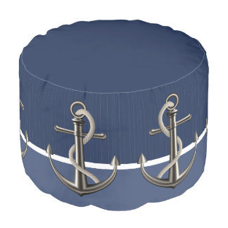 Two-toned Blue Pinstriped Anchor Pouf
