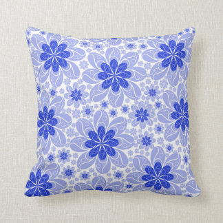 Two Toned Blue Swirl Flower Throw Pillow