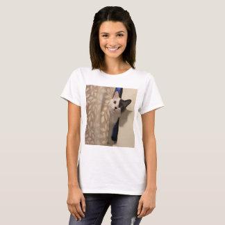 Two-toned Cat Peeking Behind the Curtain, Cute Cat T-Shirt