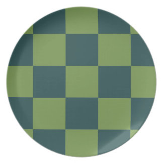 Two Toned Green Checkerboard Plate