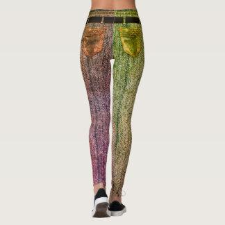 Two-toned Rainbow Belted Stonewashed Denim Design Leggings