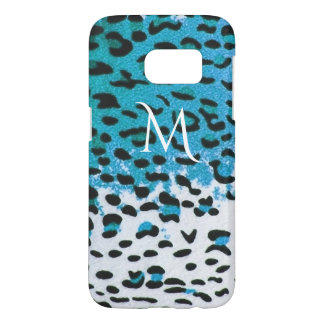 Two-Toned Turquoise Grunge Leopard Print Samsung Galaxy S7 Case