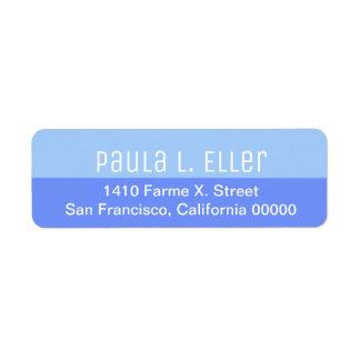 two tones of blue return address label
