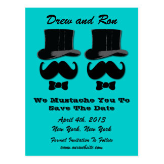 Two Top Hats With Mustache Save The Date Card