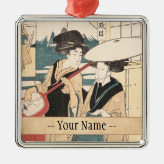 Two Tori-oi, or Itinerant Women Musicians Japan Silver-Colored Square Ornament