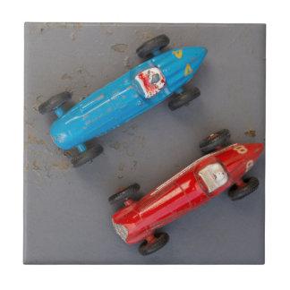 Two toy vintage cars ceramic tile