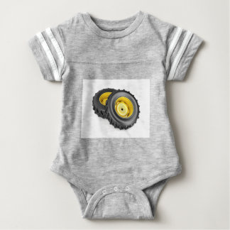 Two tractor wheels baby bodysuit
