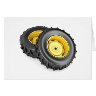 Two tractor wheels card