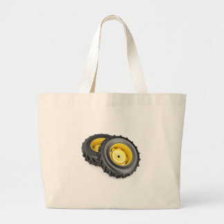 Two tractor wheels large tote bag