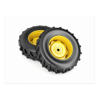 Two tractor wheels postcard