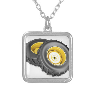 Two tractor wheels silver plated necklace