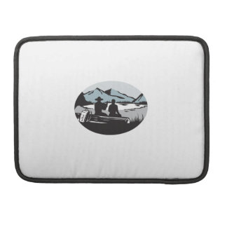 Two Trampers Sitting on Log Lake Mountain Oval Woo Sleeve For MacBooks