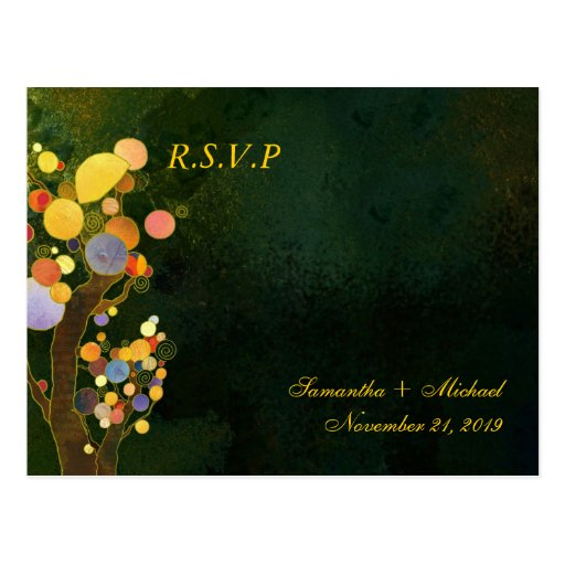 Two Trees in Dark Green Wedding RSVP (4.25x5.6) Post Cards