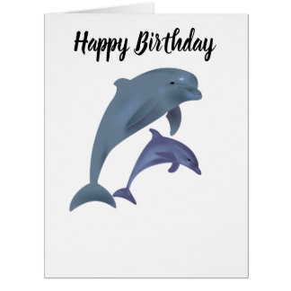 Two Tropical dolphins jumping beside each other Card