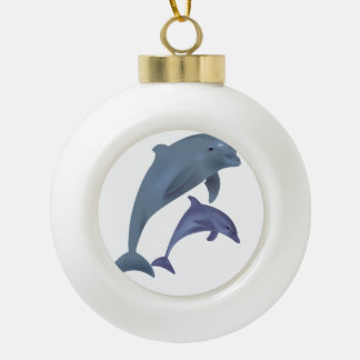 Two Tropical dolphins jumping beside each other Ceramic Ball Christmas Ornament