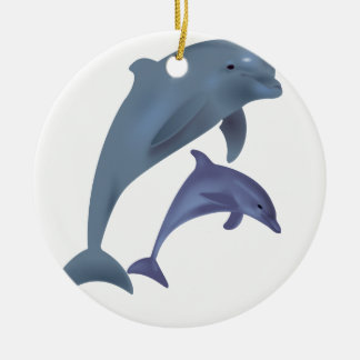 Two Tropical dolphins jumping beside each other Ceramic Ornament