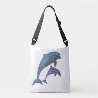 Two Tropical dolphins jumping beside each other Crossbody Bag