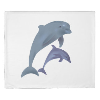 Two Tropical dolphins jumping beside each other Duvet Cover