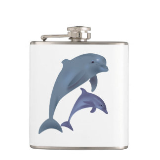Two Tropical dolphins jumping beside each other Hip Flask