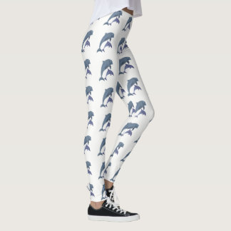 Two Tropical dolphins jumping beside each other Leggings