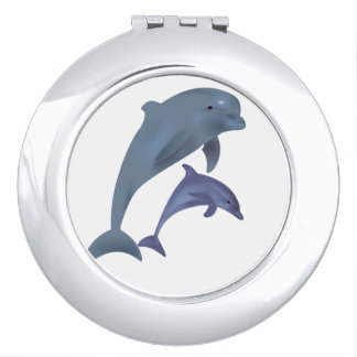 Two Tropical dolphins jumping beside each other Vanity Mirror