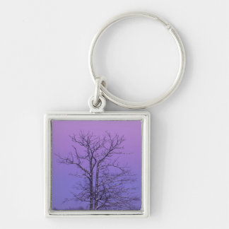 Two Trunked Tree at Sunrise; Chippewa County, Silver-Colored Square Keychain