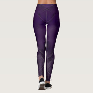 Two Tulips Flower Abstract in Dark Violet Leggings