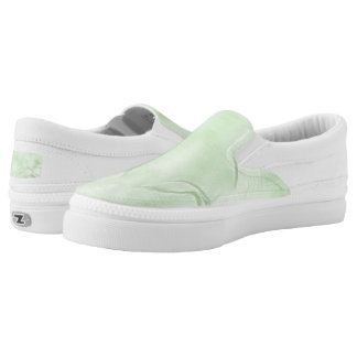 Two Tulips Flower Abstract in Green Slip-On Sneakers