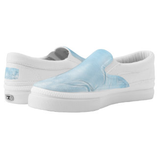 Two Tulips Flower Abstract in Ice Blue Slip-On Sneakers