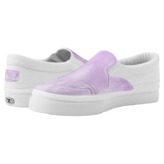 Two Tulips Flower Abstract in Lavender Slip-On Sneakers