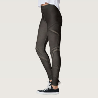 Two Tulips Flower Abstract in Off Black Leggings