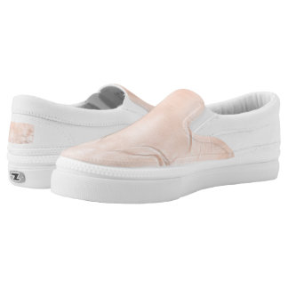 Two Tulips Flower Abstract in Peach Slip-On Sneakers