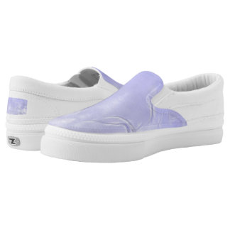 Two Tulips Flower Abstract in PeachBlue Slip-On Sneakers