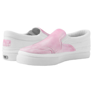 Two Tulips Flower Abstract in Pink Slip-On Sneakers