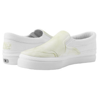 Two Tulips Flower Abstract in Yellow Slip-On Sneakers