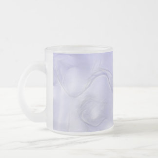 Two Tulips Flower Sketch in Blue Frosted Glass Coffee Mug
