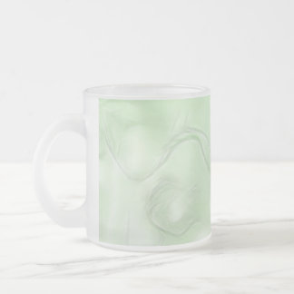 Two Tulips Flower Sketch in Green Frosted Glass Coffee Mug