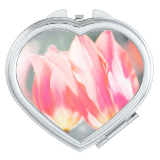 Two Tulips Flower Sketch in Pink Travel Mirror