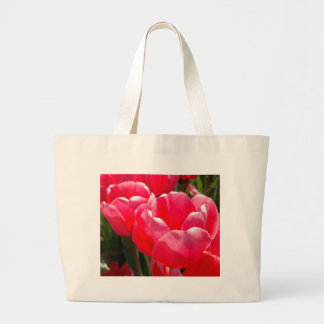 Two Tulips - Pink Coral Large Tote Bag