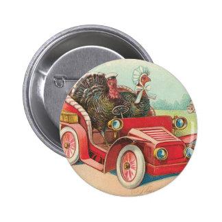 Two Turkey's Take a Drive 2 Inch Round Button