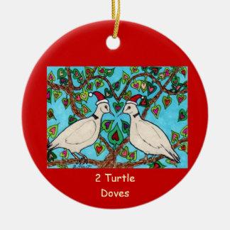 Two Turtle Doves Round Ceramic Ornament