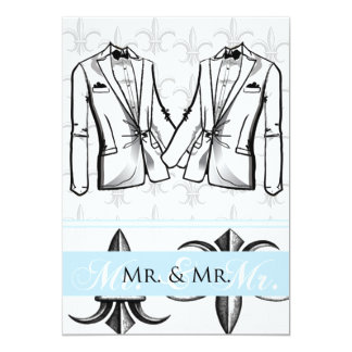 Two Tuxedo Groom Gay Wedding Invitation