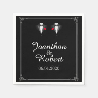 Two Tuxedos with Red Rose Gay Wedding Napkin Paper Napkins