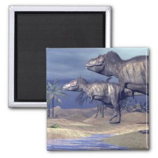 Two tyrannosaurus dinosaurs square magnet