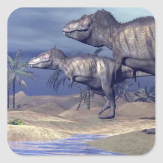 Two tyrannosaurus dinosaurs square sticker