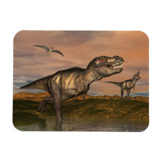 Two tyrannosaurus rex dinosaurs walking with ptera rectangular photo magnet