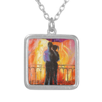 Two under an umbrella silver plated necklace