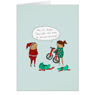 Two Unicycles | Funny Comic Cycling Christmas Card